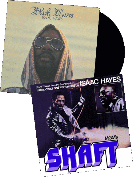 Black Moses and Shaft Soundtrack vinyl album covers