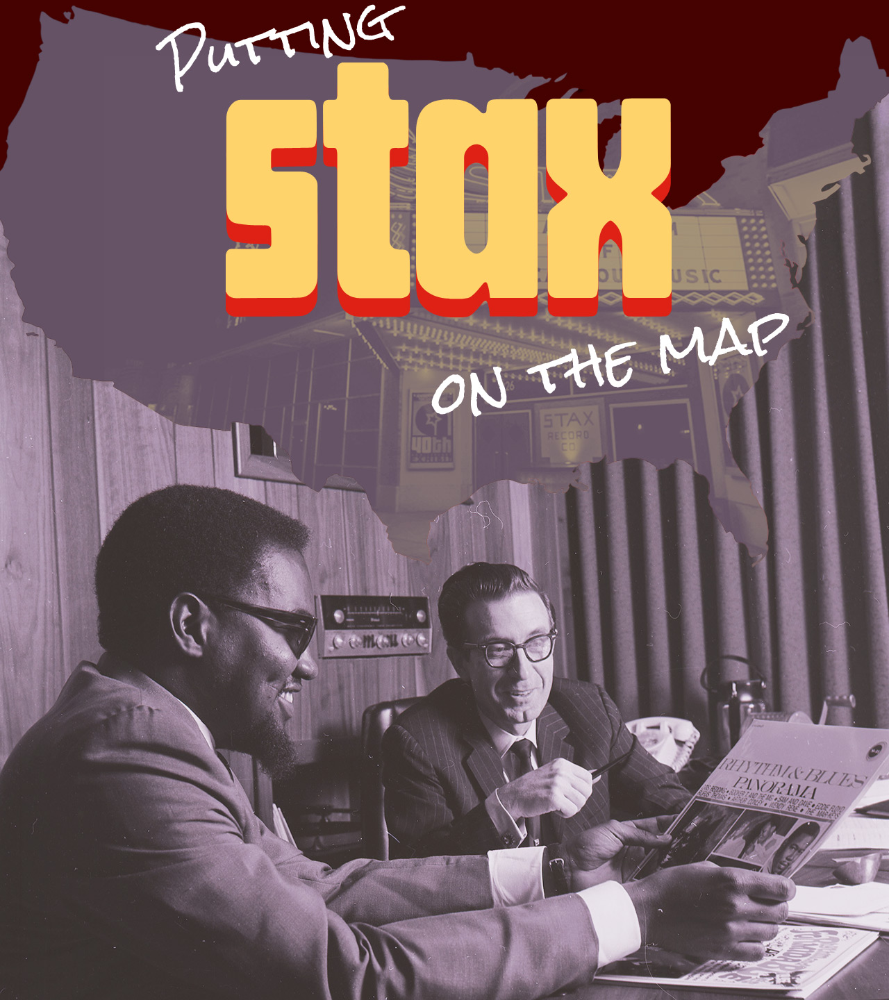 Jim Stewart and Bell collaborating at their shared desk at Stax