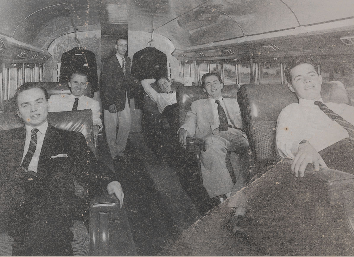 The Blackwood Brothers in their first tour bus — an idea that they originated.