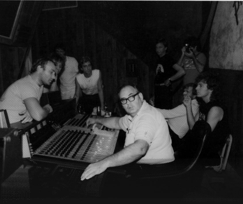 Roland Janes in the studio with Phil Collins(left) and Robert Plant(right)