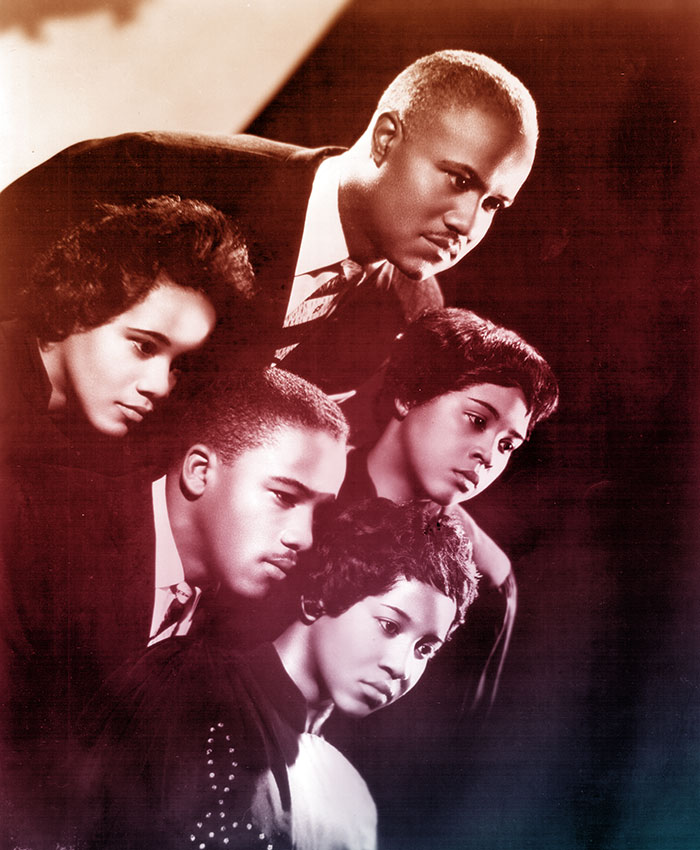 Promotional portrait of the Staple Singers, late 1950s