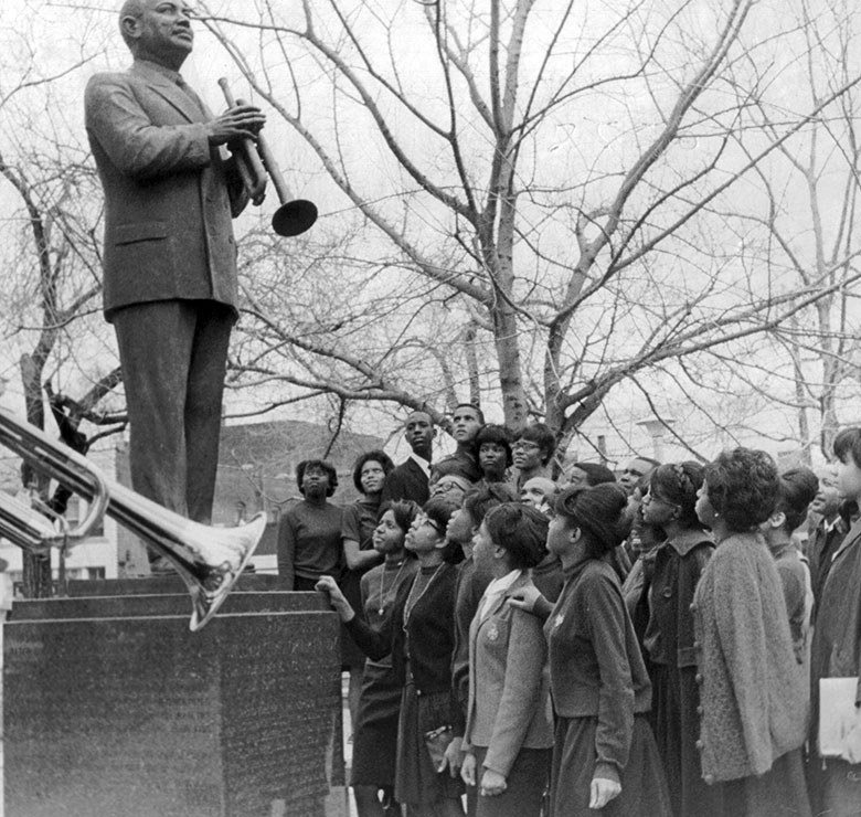 A crowd at W.C. Handy Park, Memphis, Tennessee