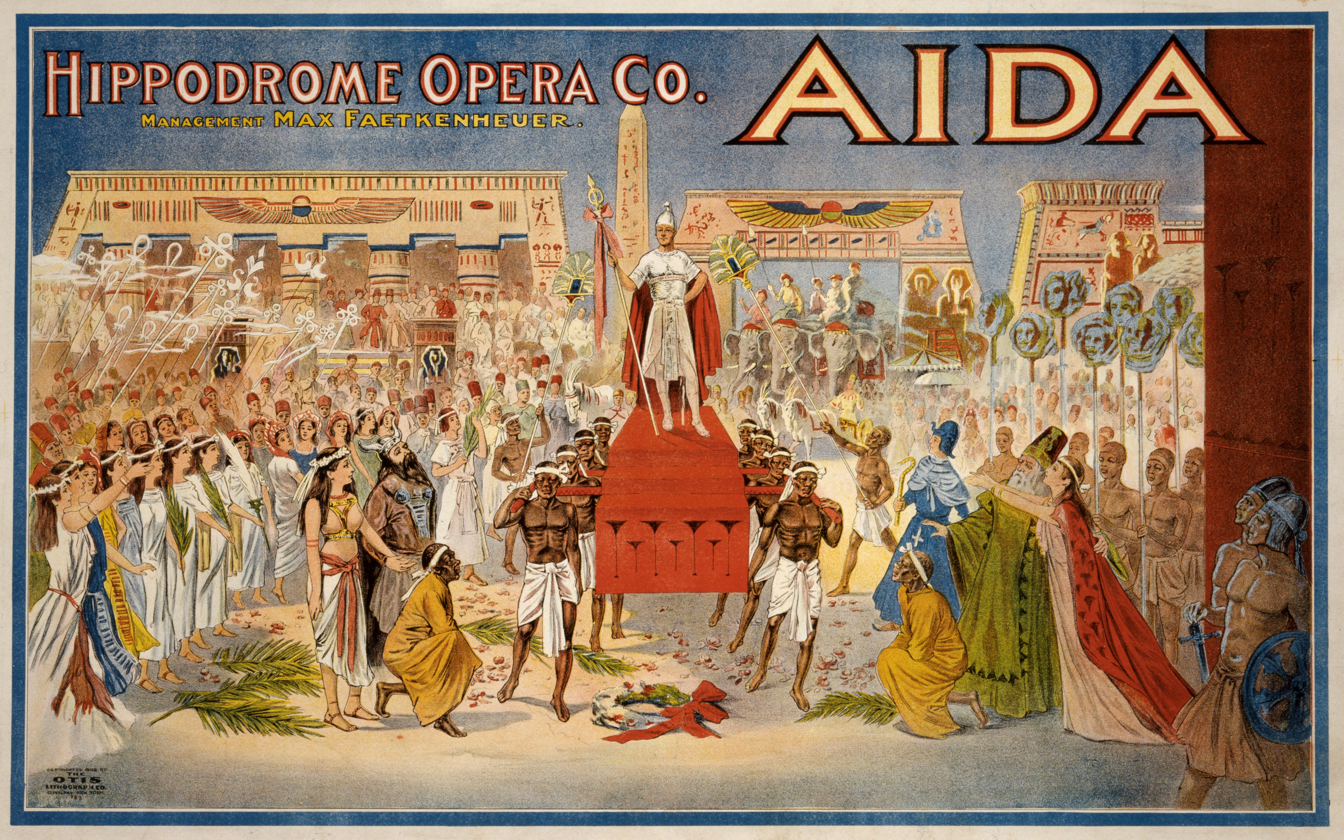 Antique poster for the opera Aida