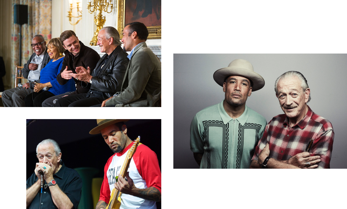 Charlie Musselwhite with celebrities and Ben Harper