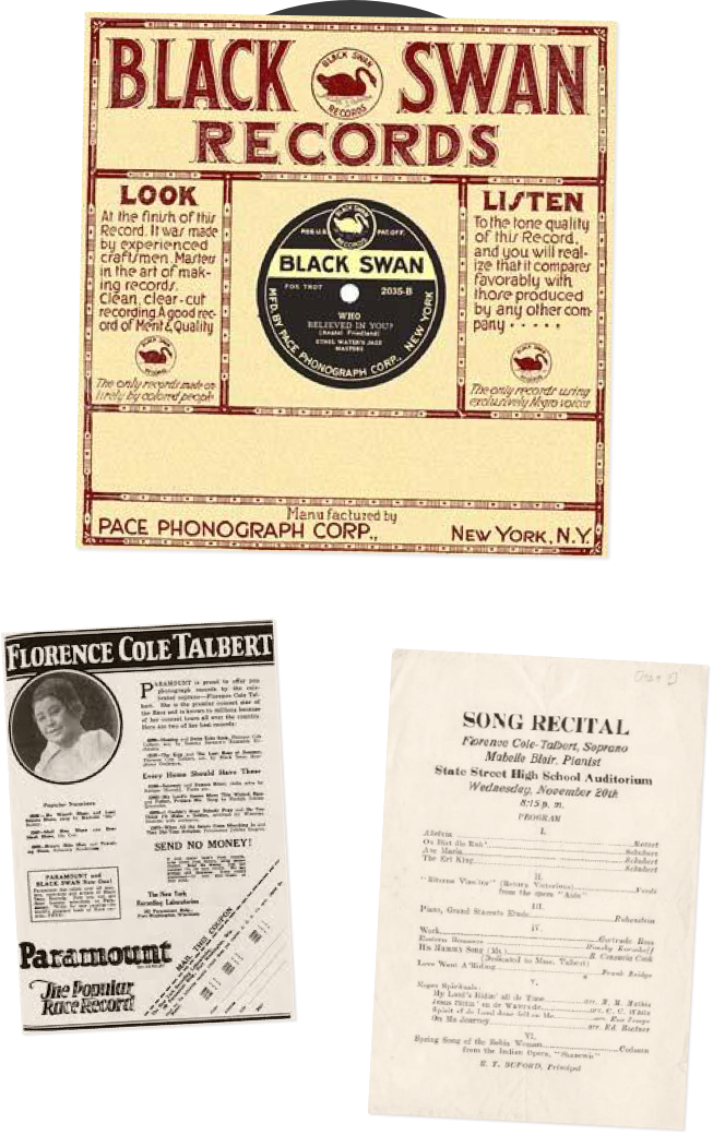 a Black Swan Records record sleeve and programs from Florence Coles career