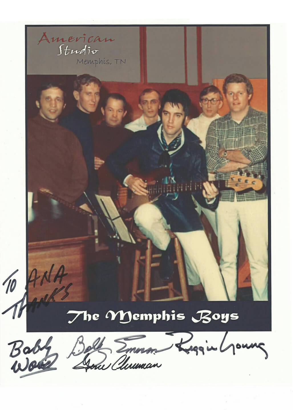 Signatures of the Memphis Boys on a polaroid picture with Elvis Presley